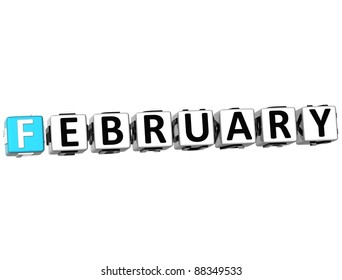 3D February Block Text on white background