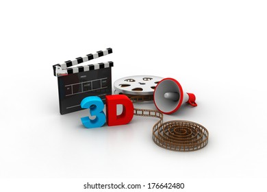3d film strips with megaphone