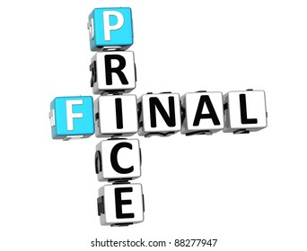3D Final Price Crossword on white background