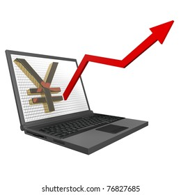 3d Financial Statistics Japanese - Yen, rising graph of the laptop up on a white background