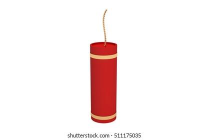 3D Fire Cracker on white background