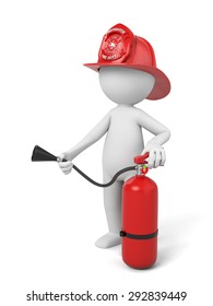 A 3d fireman standing with a helmet and a extinguisher. 3d image. Isolated white background