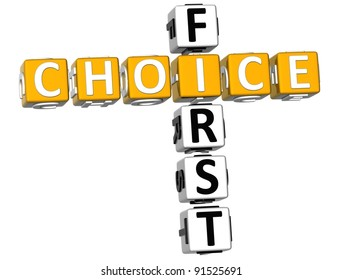 3D First Choice Crossword on white background