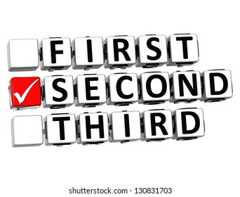 3D First Second Third Button Click Here Block Text over white background