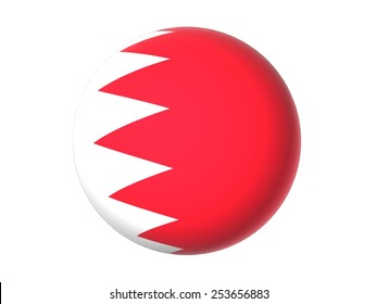 3D flag of Bahrain, orb, ball, circle, icon, round, sphere  isolated on white background