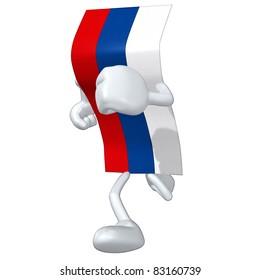 3D Flag Cartoon Character