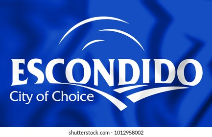 3D Flag of Escondido, USA. 3D Illustration.