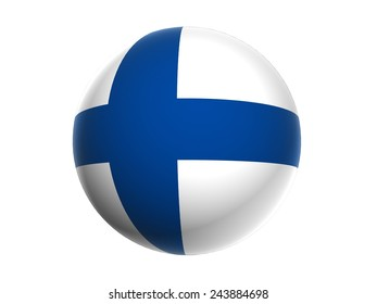 3D flag of  Finland, sphere isolated on white background
