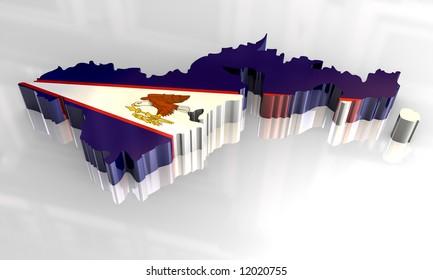 3d flag map of american samoa