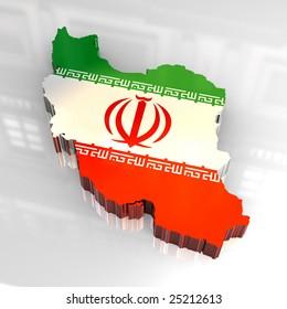 3d flag map of Iran