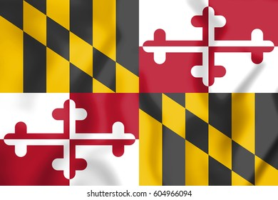 3D Flag of Maryland state, USA. 3D Illustration.
