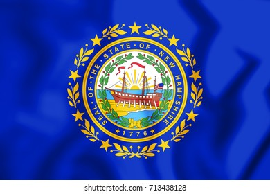 3D Flag of New Hampshire, USA. 3D Illustration.