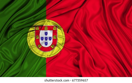 3D Flag of Portugal silk texture