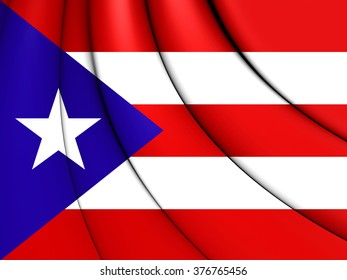 3D Flag of the Puerto Rico. Close Up.