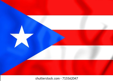 3D Flag of the Puerto Rico. 3D Illustration.