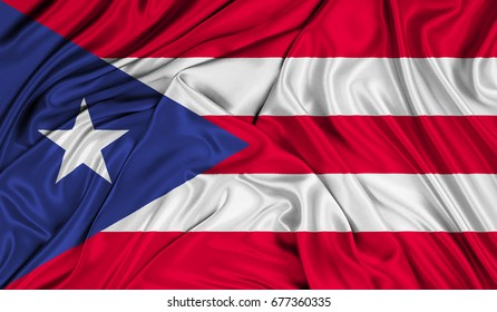 3D Flag of Puerto-Rico silk texture