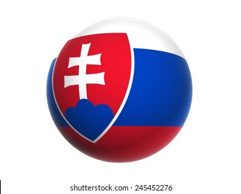 3D flag of Slovakia, sphere isolated on white background