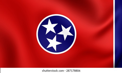 3D Flag of the Tennessee, USA. Close Up.