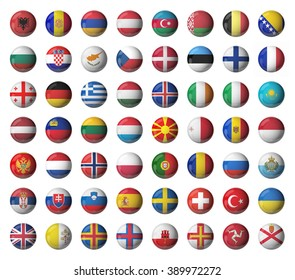 3D flags isolated on white. Glossy balls