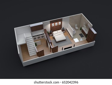 3D Floor Plan of Small Residential Unit