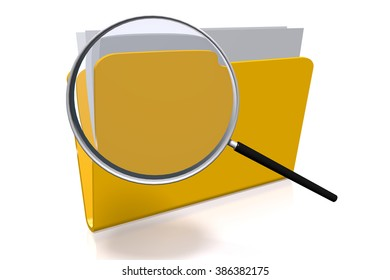 3D folder concept and magnifying glass.