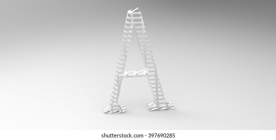 """3D font """"A"""" in white background, computer generated images"""