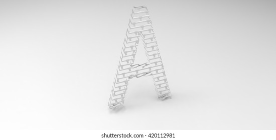 "3D font ""A"" in white background, computer generated images"
