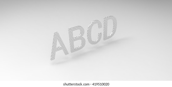 "3D font ""ABCD"" in white background, computer generated images"