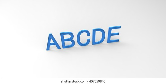 """3D font """"ABCDE"""" in white background, computer generated images"""