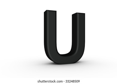 3D Font Alphabet Letter U in Black on white Back Drop