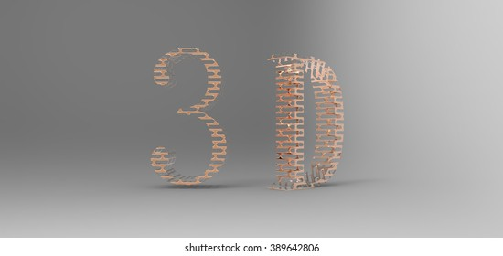 3D font in gray background, computer generated images
