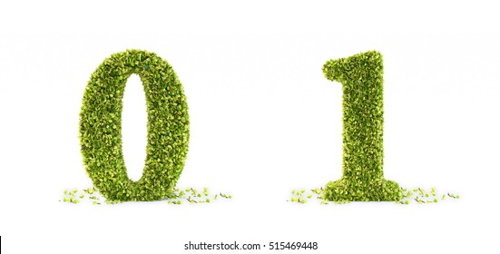 3D font set - hedge shaped as letters and numbers