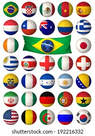 3D football balls decorated with flags of the countries that participate in the 2014 World Cup