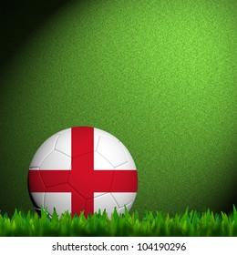 3D Football England Flag Patter in green grass