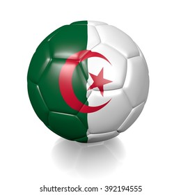 3D football soccer ball colored with the flag of Algeria isolated on a white background