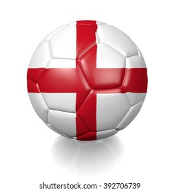 3D football soccer ball colored with the flag of England isolated on a white background