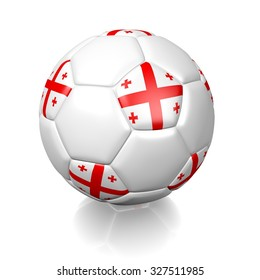 3D football soccer ball with the flag of Georgia, isolated on white background.