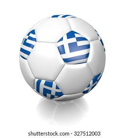 3D football soccer ball with the flag of Greece, isolated on white background.