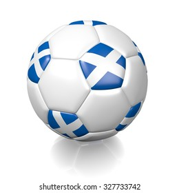 3D football soccer ball with the flag of Scotland, isolated on white background.