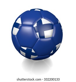 3D football soccer ball with the flag of Finland, isolated on white background.