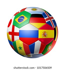 3D football soccer ball with national flags. Isolated on white