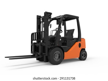 3D forklift truck isolated on a white background