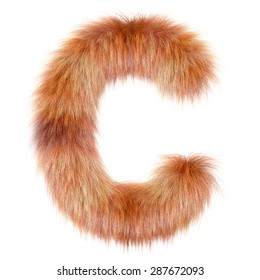 "3d ""Fox"" creative decorative fur letter C"
