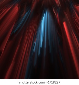 3D fractal abstract parted red velvet curtain with blue light