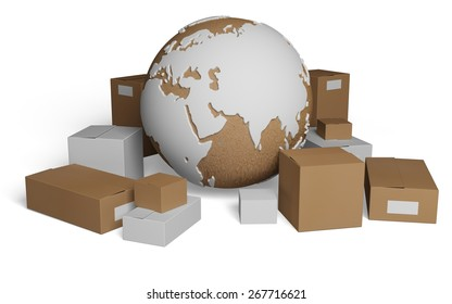 3D. Freight Transportation, Merchandise, Distribution Warehouse. Elements of this image furnished by NASA.