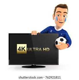 3d french soccer fan with 4K ultra HD television, illustration with isolated white background