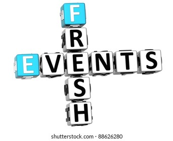 3D Fresh Events Crossword on white background