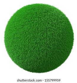 3d fresh grass sphere on white background