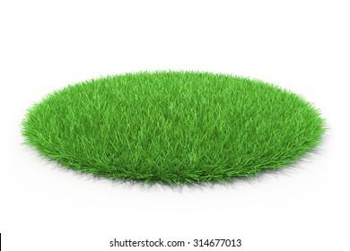 3d fresh green grass on white background