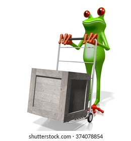 3D frog and package - great for topics like freight transportation, post, delivery etc.